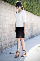 white sweater - black pleated skirt - brown two toned heels