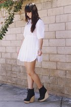 white lace dress - black wooden wedge wedges