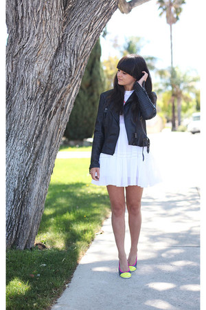 black leather jacket - white lace dress - navy multi colored flats