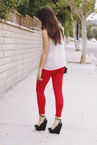 red pants - white blouse