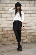 black skirt - ivory sweater - black wedges