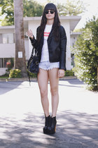 white supreme bitch t-shirt - black leather jacket - light blue shorts