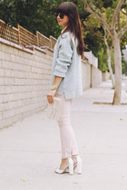 sky blue sweater - light pink pants - white blouse - white heels