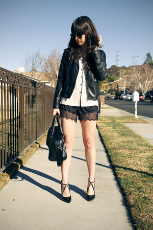 off white pajama blouse - black lace trim shorts - black strappy pumps