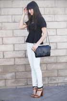 black peplum top - black bag - light blue mint pants - brown two toned heels