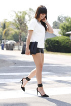 black embossed bag - black leather shorts - black ankle strap heels