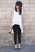 white top - black destroyed jeans - light pink bag