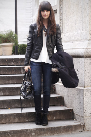 black leather jacket - black velvet boots - navy jeans - white top