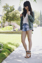 brown heels - olive green jacket