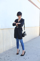 dark gray H&M cardigan - black waist H&M belt