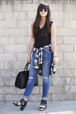 black t-shirt - sky blue jeans - red shirt - black heels