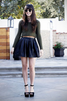 army green cropped sweater - black leather skirt - black heels