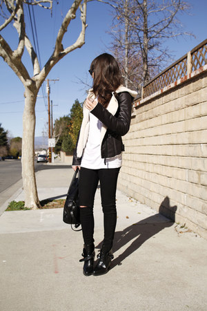 black ankle strap boots - black destroyed jeans - dark brown jacket