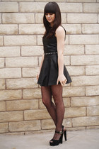 black leather dress - black polka dot tights - black heels