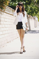 black leather shorts - white blazer - aquamarine clutch bag