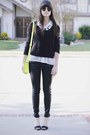 Yellow-bag-black-heels-black-necklace-black-waxed-pants