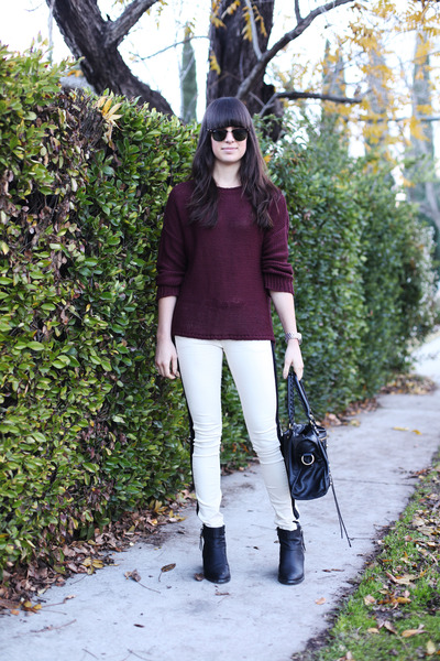 crimson sweater - white leather stripe pants
