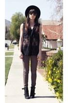 black lace Millau shirt - black canvas Forever21 hat - army green CarMar pants