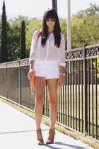 purse - lace shorts - pumps - blouse