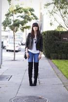 black thigh high Zara boots