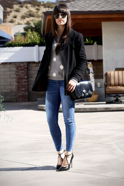 heather gray polka dot sweater - black coat - black bag - black strappy pumps