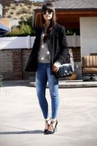 heather gray polka dot sweater - black coat - black bag - black strappy pumps