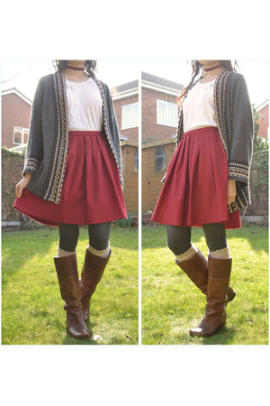burnt orange Safiya boots - ruby red Uniqlo skirt - gray Matalan cardigan
