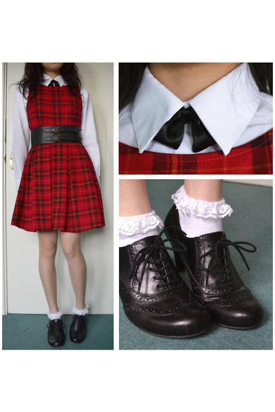 ivory school tesco shirt - ruby red tartan Parisian dress