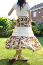 Brown-peasant-skirt-white-basic-esprit-t-shirt-eggshell-topshop-belt