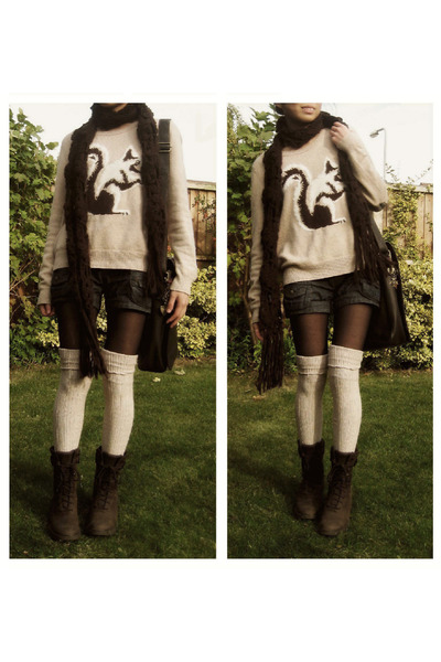 tan wool squirrel next sweater - dark brown suede lace-up Rockport boots