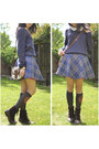 Dark-brown-clarks-boots-gray-knee-high-pringle-socks-blue-red-herring-skirt