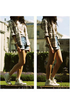 beige chequered new look shirt - sky blue Wrangler shorts