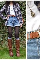 camel pocket watch  necklace - burnt orange Safiya boots