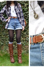 Burnt-orange-safiya-boots-navy-chequered-superdry-shirt
