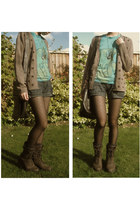 dark brown suede lace-up Rockport boots - dark brown new look tights