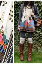 charcoal gray cotton tesco tights - burnt orange Safiya boots