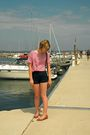 Red-unknown-brand-shirt-black-lucca-couture-shorts-brown-unknown-brand-acces