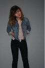 Black-denim-jeans-cheap-monday-jeans-light-blue-denim-jacket-levis-jacket-nu