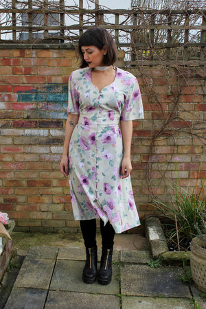 black leather vagabond boots - light purple floral charity shop dress