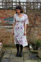 black leather vagabond boots - light purple floral charity shop dress