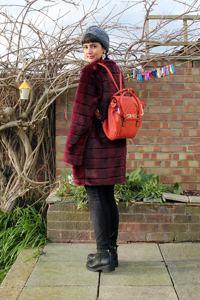 crimson faux fur Marks and Spencers coat - black leather Miista boots
