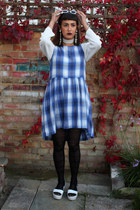 white Topshop sunglasses - blue check print Topshop dress