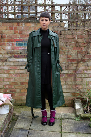 forest green trench coat charity shop coat - magenta Lowie socks