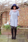 Black-ebay-boots-heather-gray-charity-shop-dress-navy-primark-hat