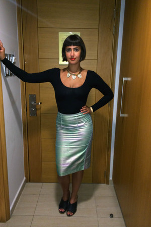 turquoise blue holographic Topshop skirt