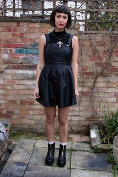 black leather zip vagabond boots - black Primark dress