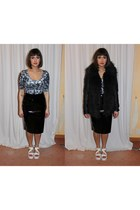 white vagabond sandals - black faux fur Primark coat - silver velvet Monki top