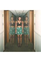crimson Miista heels - green prints Primark skirt