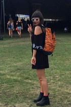 black leather vagabond boots - carrot orange animal print Trainer Spotter bag