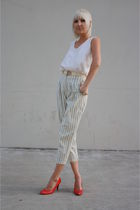 blue striped vintage pants - red vintage Charles Jourdan shoes